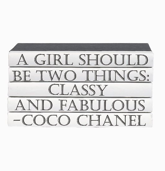 "Coco Chanel Quote Display Books, ""Fabulous"""