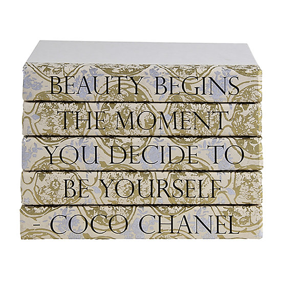 "Coco Chanel Quote Display Books, ""Beauty"" Patterned Spine"