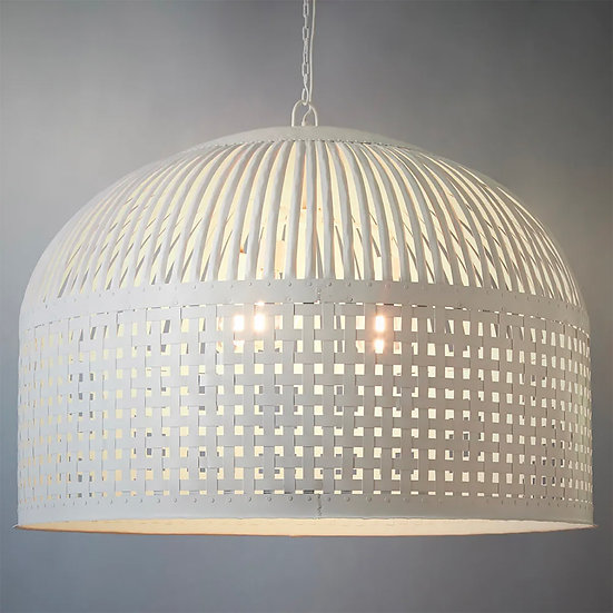 Metal Basket Large Pendant, White
