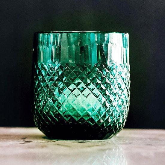 Diamond Cut Tumbler/Votive, Emerald