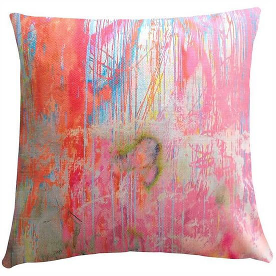 Cushion, Pink Orange Scribble