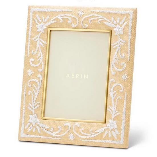 AERIN Valentina Embroidered Raffia 5x7 Frame