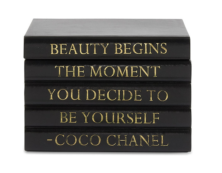 """Coco Chanel Quote Black Leather Bound Box, """"Beauty Begins"""""""