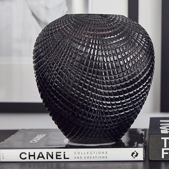 Diamond Cut Glass Vase/Hurricane, Black