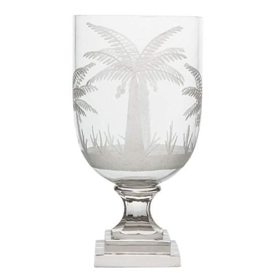 Palm Etched Glass Hurricane