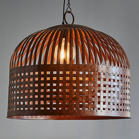 Metal Basket Large Pendant, Rust