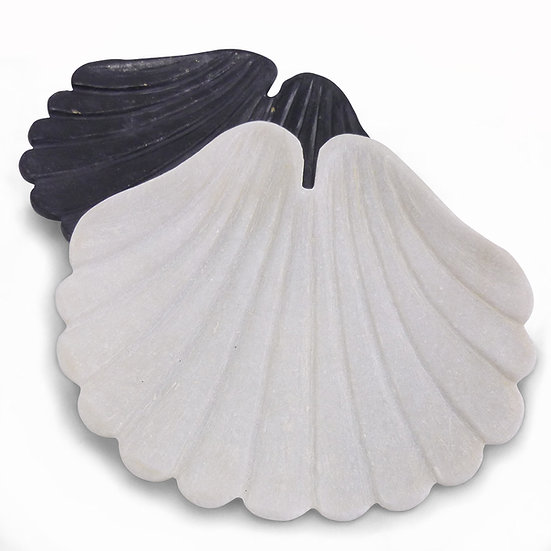 Marble Scallop Shell Dish, White