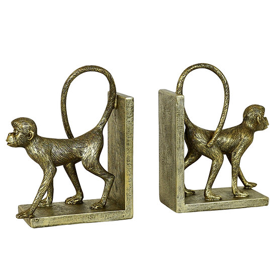 Resin Gold Monkey Bookends