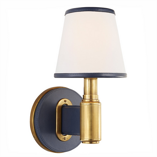 RALPH LAUREN Riley Sconce, Natural Brass & Navy Leather