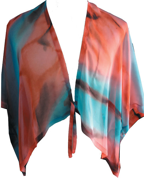 86130270 Silk Jacket with Ties - Caribbean Sunset