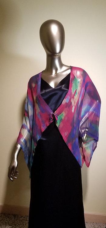 86130273 Silk Jacket with Ties - Rainy Rainbow