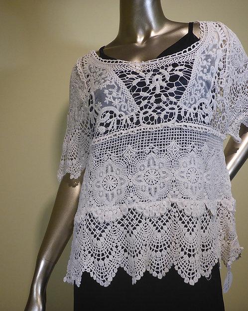 1316 Natural Crochet Top