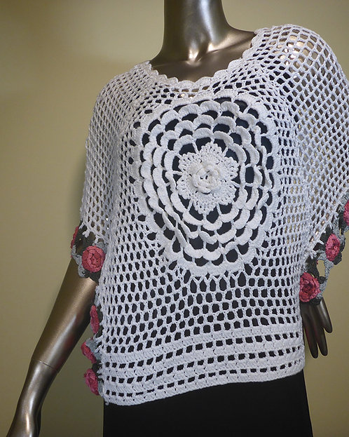 KA6122 White Crochet Top With Roses