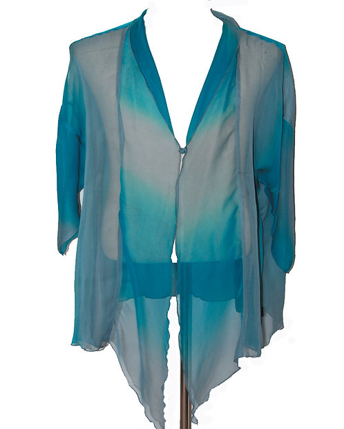 810130272 Silk Jacket with Button - Ocean View