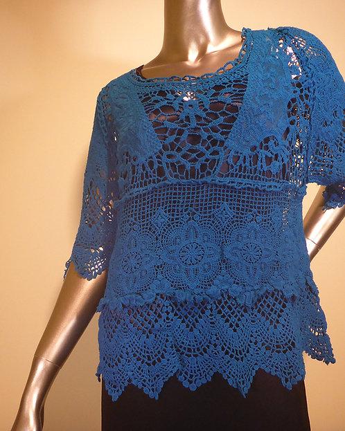 1319 Teal Crochet Top