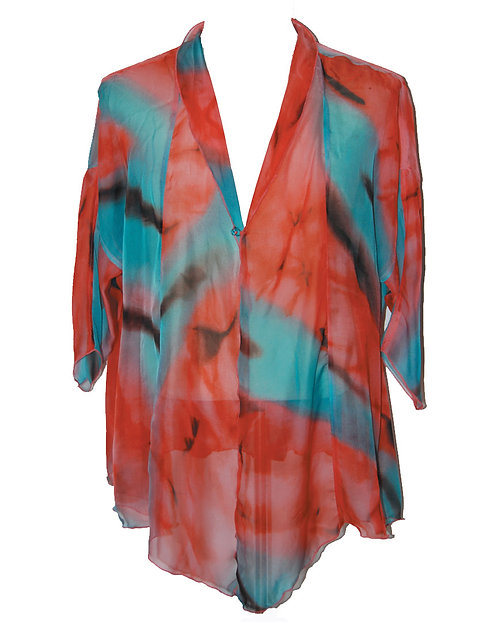 810130270 Silk Jacket with Button - Caribbean Sunset