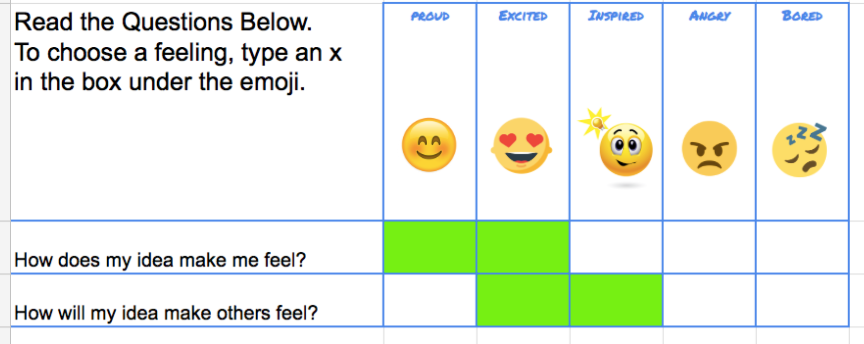 google sheet with visual feedback