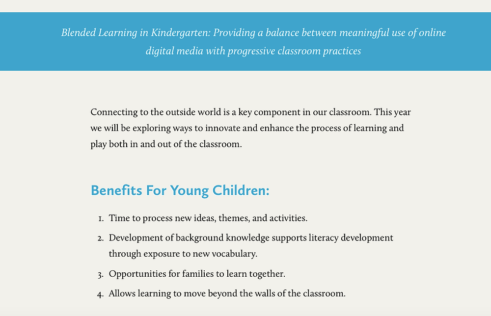 Blended Learning in Kindergarten