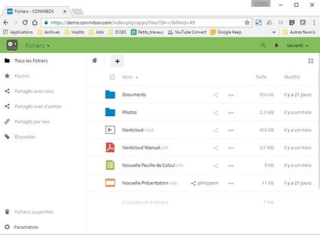interface utilisateur conmibox : partage de fichiers