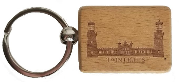 Twin Lights Wooden Key Ring