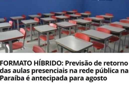 Novo decreto na Paraíba autoriza municípios a antecipar volta das aulas híbridas em agosto