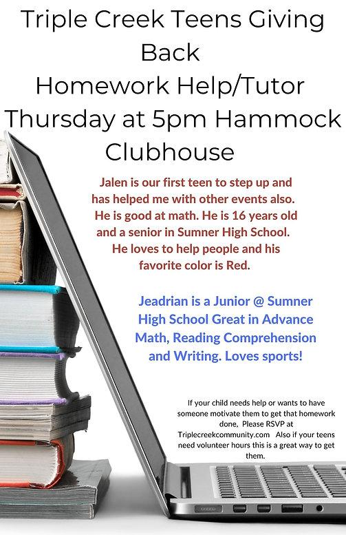 Triple Creek Teens Giving Back Homework HelpTutor Thursday at 5pm Hammock Clubhouse(1).jpg