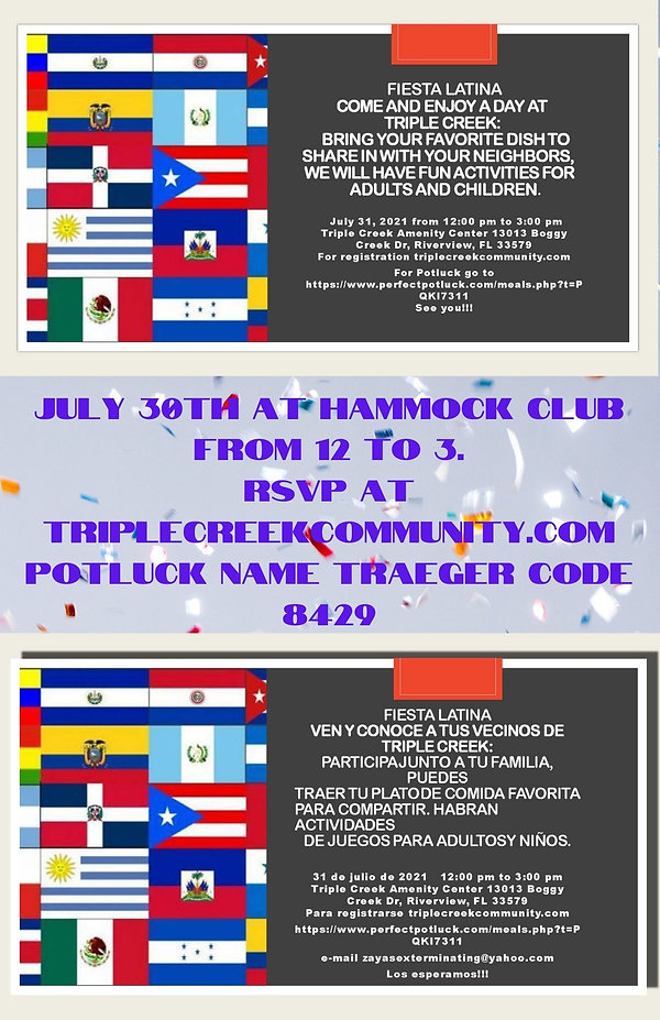 July 30th at Hammock Club from 12 to 3. Rsvp at Triplecreekcommunity.com Potluck name Trae