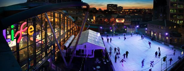 Skaters at the Christmas ice rink at the Centre for Life Newcastle