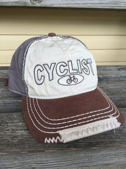 Cyclist embroidered ball cap with leather bill