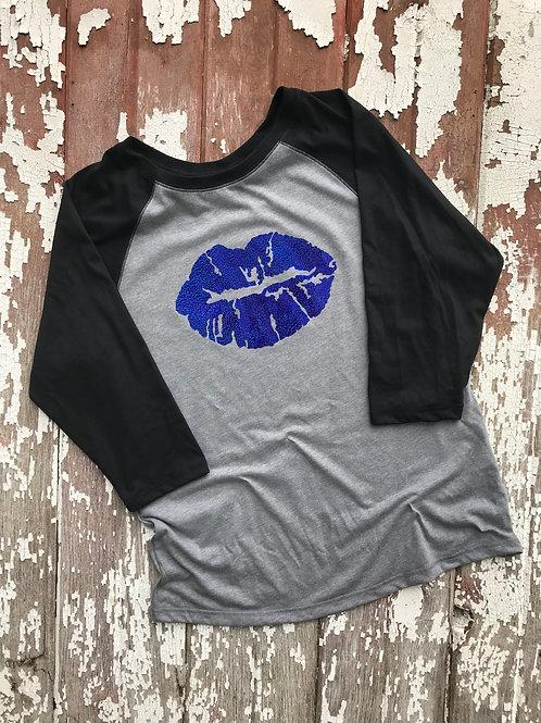 Kissable Ladies Blue GLITTER Confetti TEE Jersey Style