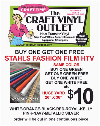 Buy 1 Get 1 Free STAHLS FASHION FILM HTV in 9 Colors