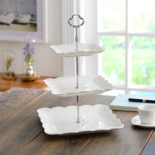 Ceramic Three Tier Dessert Plate