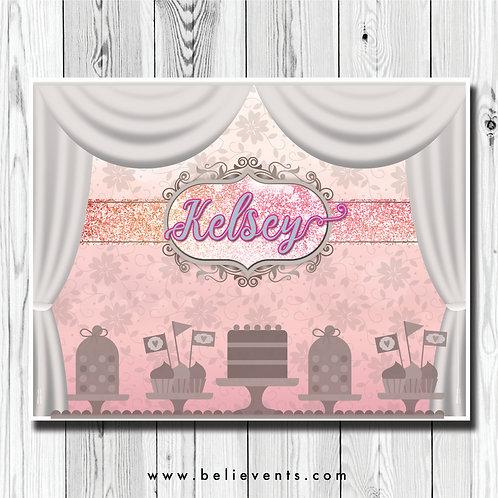 Princess Theme Dessert Table Party Backdrop Banner