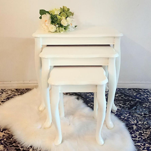 White Nest of Tables (Set of 3)