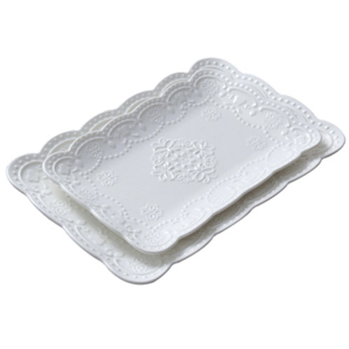 White Ceramic Tray (Set of 2)
