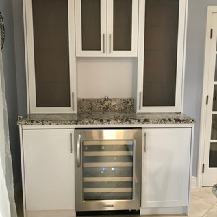 Custom bar with frosted glass