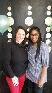 Jennifer Rash and Nicole Steele celebrating at the ladies' event at the King's Worship Center
