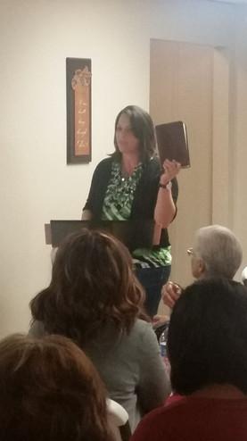 Jennifer Rash speaking at Word of Life Ministries in Simpsonville, SC