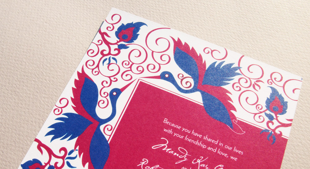 Crane themed wedding card