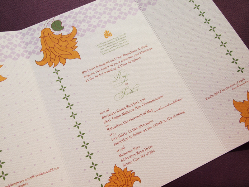 Gate fold wedding invite