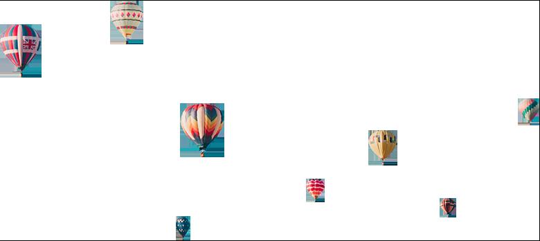 Colourful hot air balloons