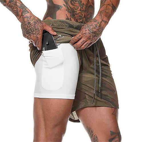 Pantaloneta Gym con Bolsa para Celular Camuflada