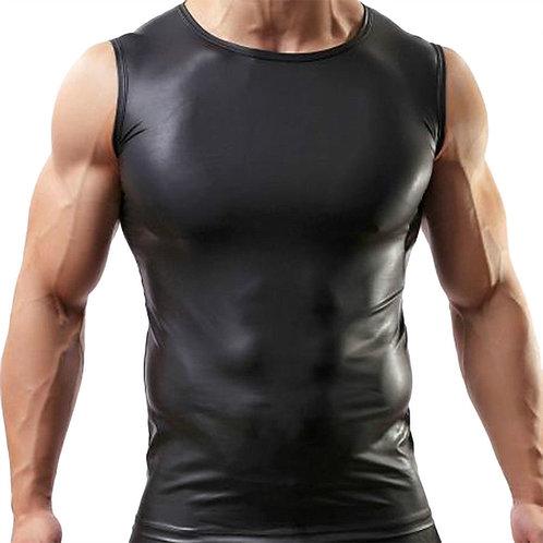 Camiseta de cuero sin mangas