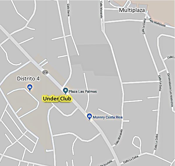 Mapa de Under Club Escazú