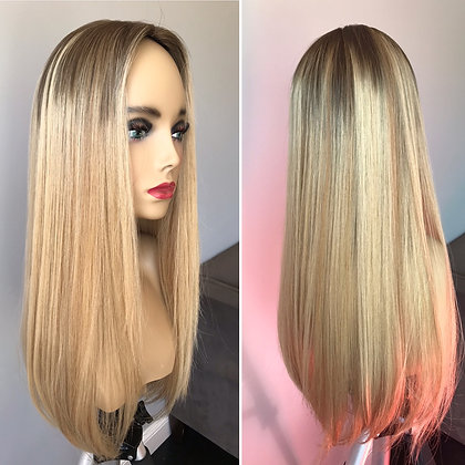 T6532: light dimensional blonde with extended root 7x8 24-25""