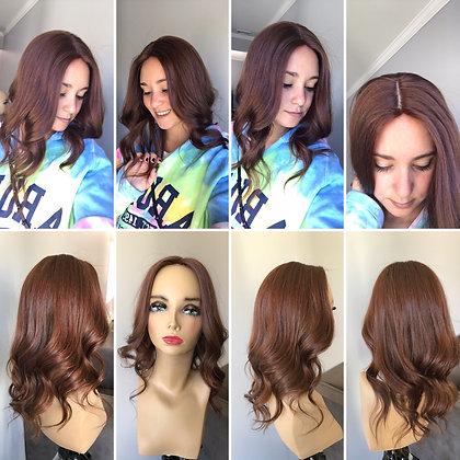 """V20262-63: natural virgin European auburn hair 6x7 18"""""""