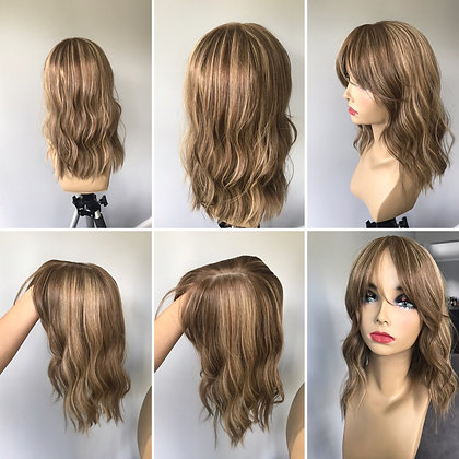 TP2607: dimensional dark blonde with precut bangs 6.5x7 16""