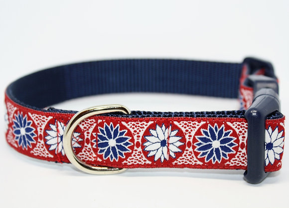 Blue And White Flower with Red on Navy
