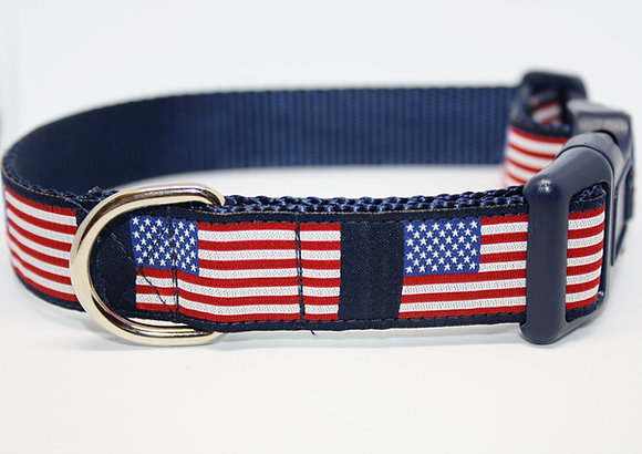 American Flag On Navy