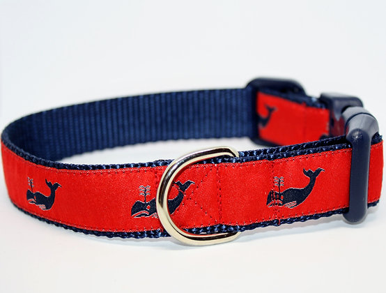 Navy Whales with Red on Navy